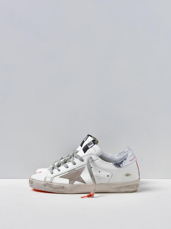 SNEAKERS SUPERSTAR_WHITE LEATHER ORANGE FLUO SOLE