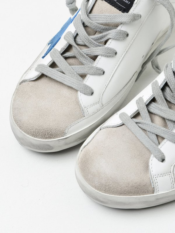 SNEAKERS SUPERSTAR_WHITE LEATHER-LIGHT BLUE STAR