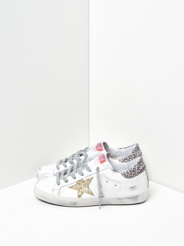 SUPERSTAR LEATHER UPPER GLITTER STAR LEOPARD HEEL