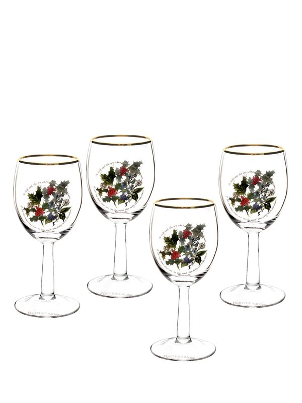 The Holly and The Ivy Set of 4 Wine Glasses