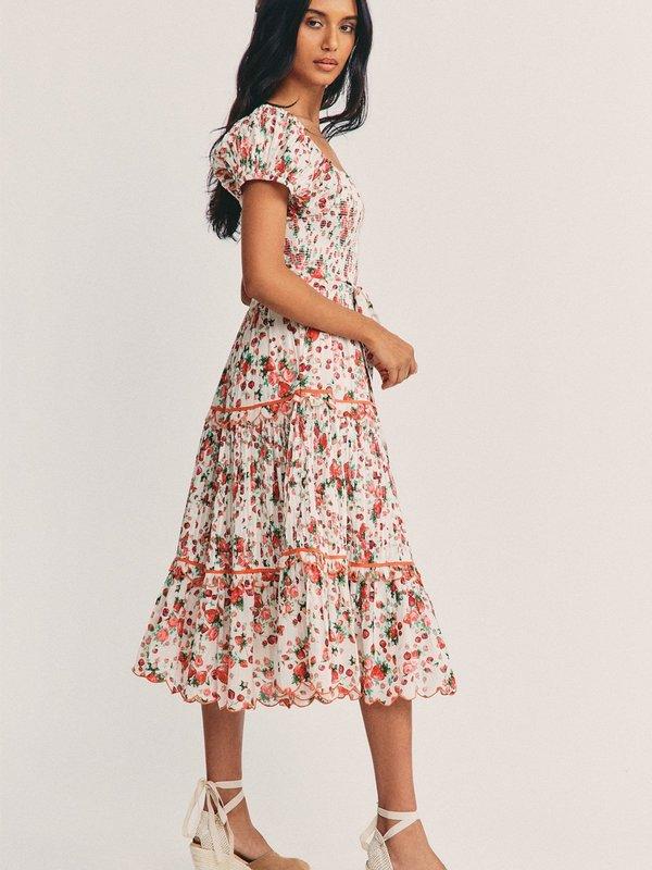 LoveShackFancy Masie Midi Dress - Cloudy Poprocks