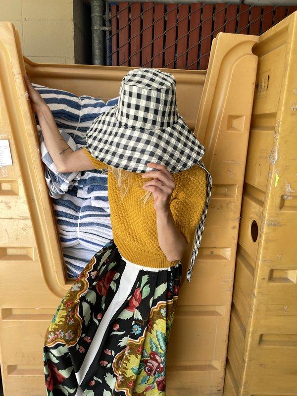 Beklina Scarf Hat - Gingham Black