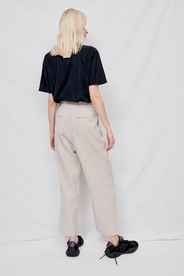 WNDERKAMMER 3 Button Wide Trousers - Greyish Beige
