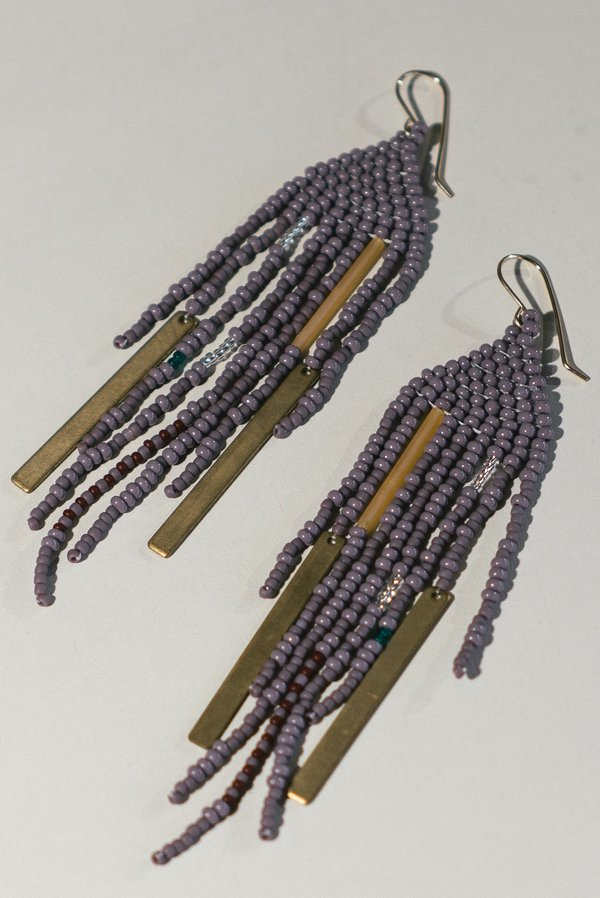 Lu in the Frey Large Beaded Fringe Earrings with Brass Accents