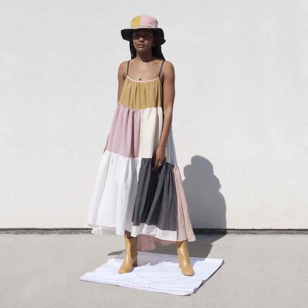 LA RÉUNION Neutral Patchwork Dress No. 12