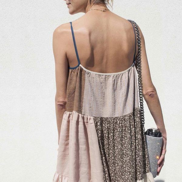 LA RÉUNION Neutral Patchwork Dress No. 13