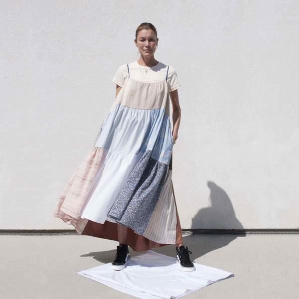 LA RÉUNION Neutral Patchwork Dress No. 16