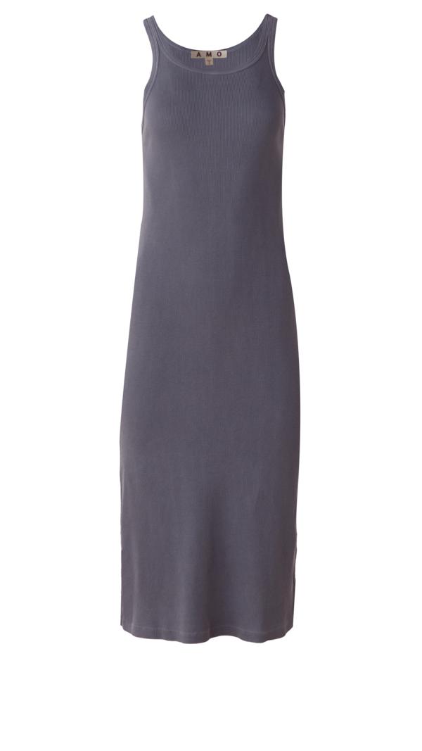 amo denim Long Rib Tank Dress - faded black