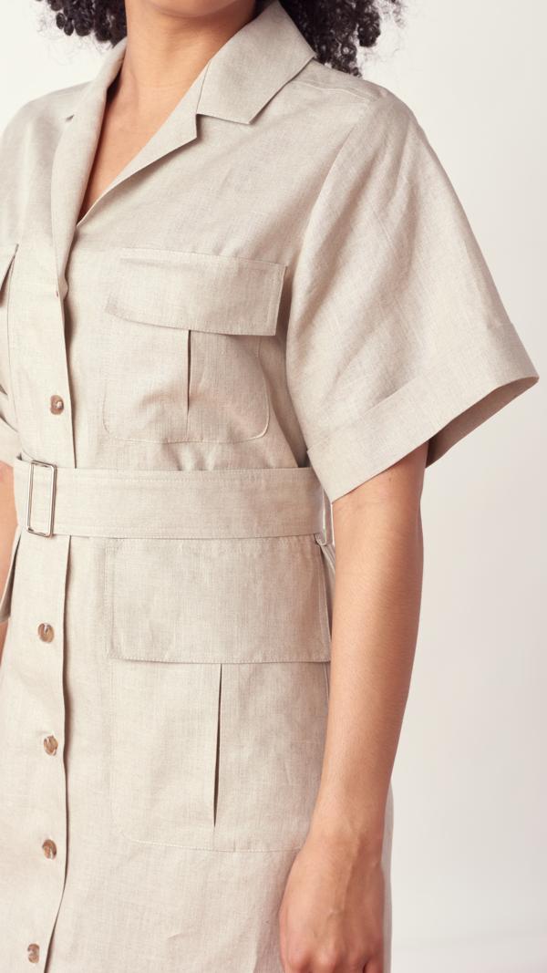 Matthew Bruch Safari Midi Dress - Oatmeal Linen
