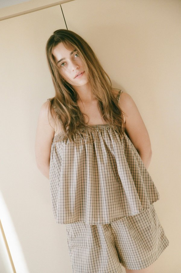 The Gathered Cami Set / Gingham