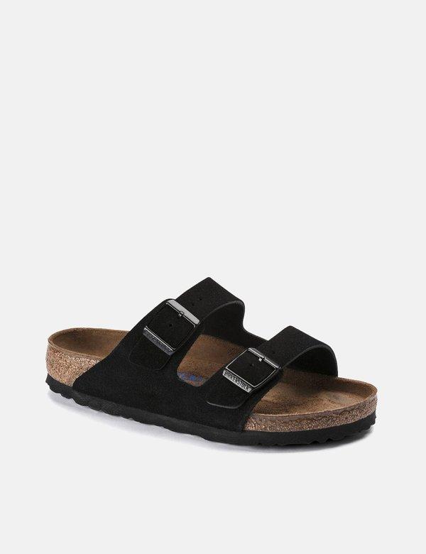 Birkenstock Arizona Suede Leather (Regular, Soft Footbed) - Black