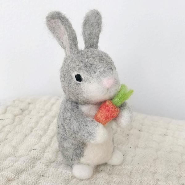 Midos Tail Hand Felted Standing Bunny With Carrot Grey