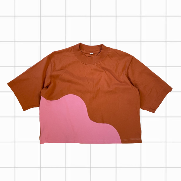 upcycled Wavy Colorblock Tee (Rust/Pink)