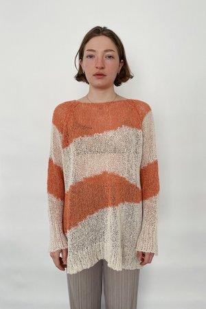 Cest la vie Stripe Knit Top - Orange