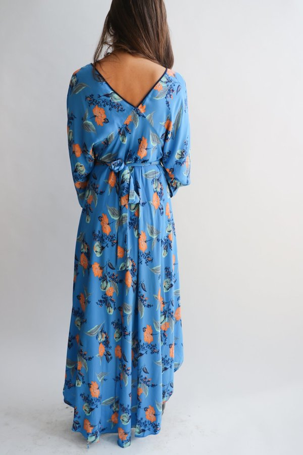 [Pre-loved] Diane Von Furstenberg Floral Midi Dress - Blue Floral