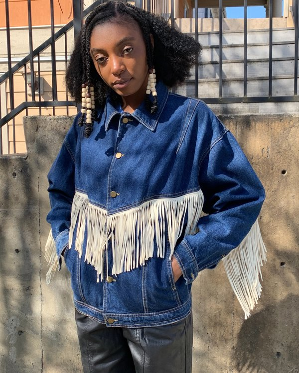 90s Fringed Denim Jacket