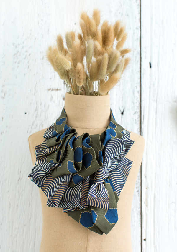 Olive Green and Navy Aster Silk Ascot