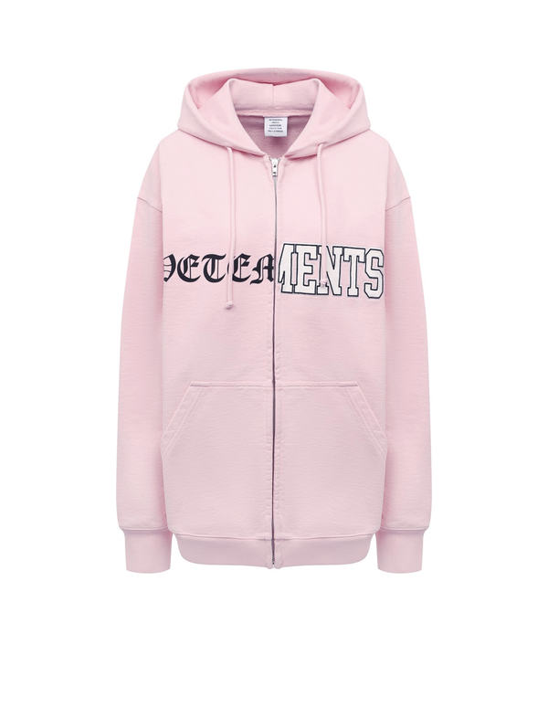 Vetements Pink Zipped Hoodie