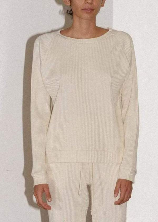Basic Sweatshirt Rib Fleece Off White