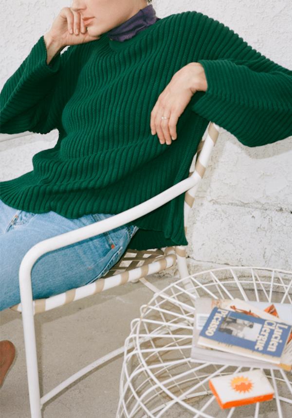 Kai Sweater Cotton Rib Green