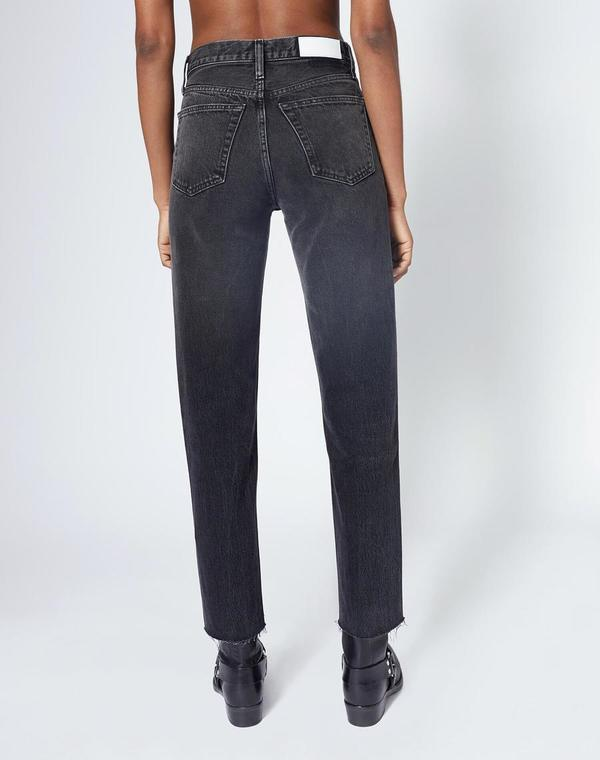 RE/DONE Original High Rise Stove Pipe Jean - Aged Black