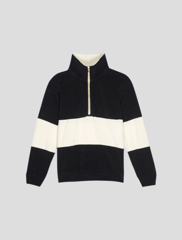 Striped Terry Pullover - Black