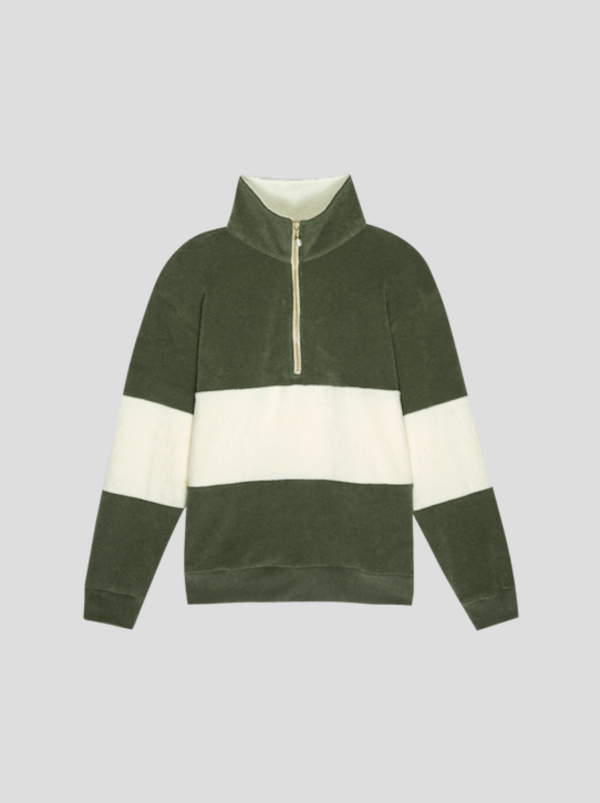Striped Terry Pullover - Moss