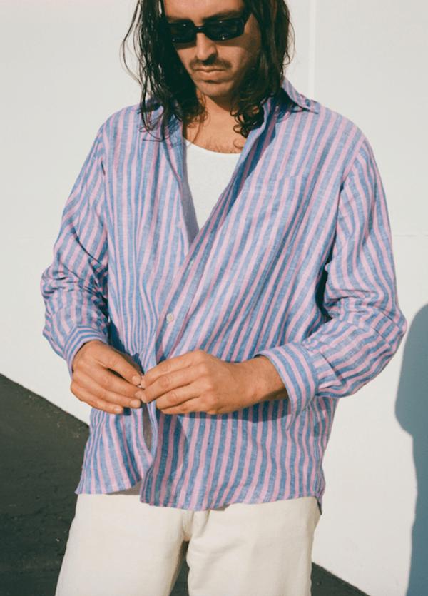 THE ONE Linen Shirt - Sunset Stripe