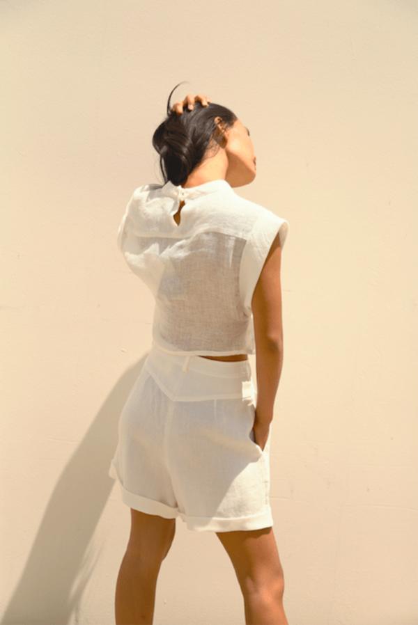 Zifta linen top - White