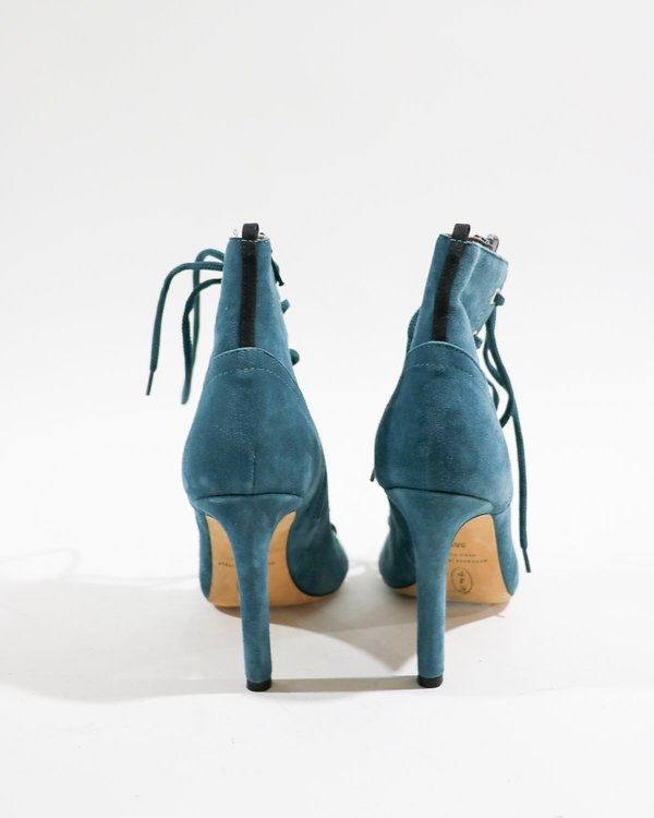 Pre-loved SJP by Sarah Jessica Parker Caged Peep Toe Ankle Boots - Blue