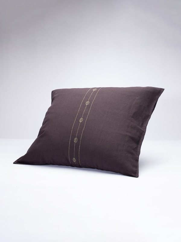 Erica Tanov Euro Sham Hand-Embroidered Prune Linen Pillowcase