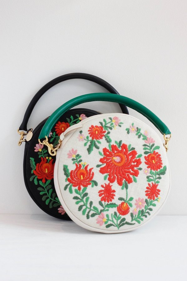 Clare V. Mexican Embroidered Round Bag