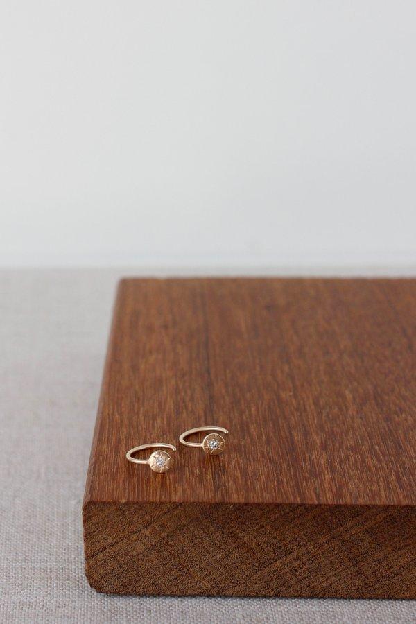 CLP Open Hoop w Diamond 14K Earrings