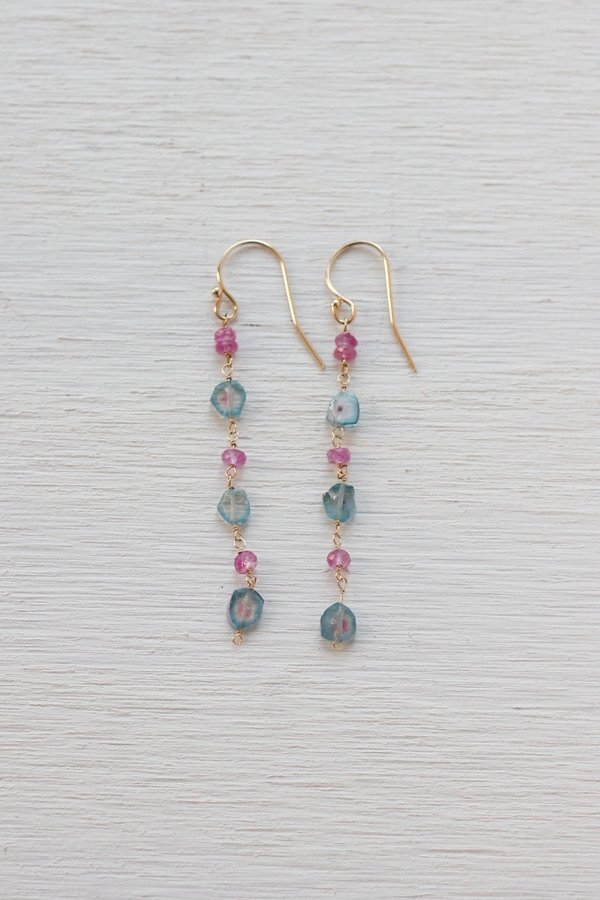 Dawn Bryfogle #13 Sapphire and Tourmaline earrings