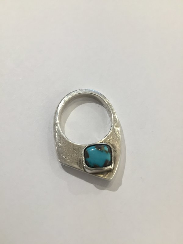 India Wysong Pointed Mountain Stacking Ring With Turquoise