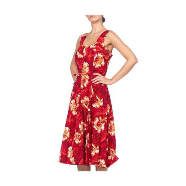 Vintage 1950S Morphew Tropical Cotton Rockabilly Hawaiian Floral Dress - Red