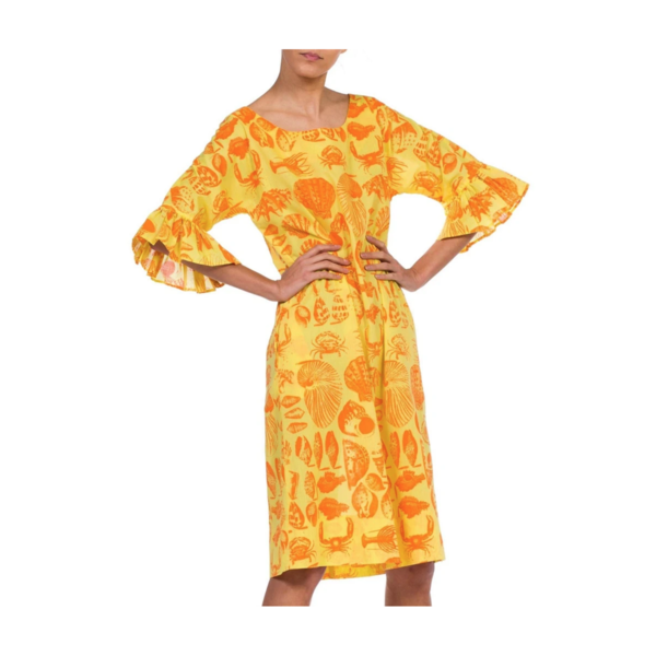 Vintage Morphew 1970S Cotton Blend Bright Seaside Seashell Print Dress - Yellow/Orange