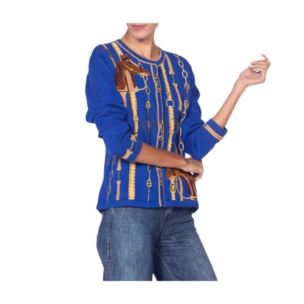 Vintage 1990'S Deadstock Sweater Cardigan - Sapphire Blue