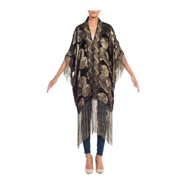 MORPHEW COLLECTION Floral Gold Lamé Kimono With Antique Trim & Silk Fringe