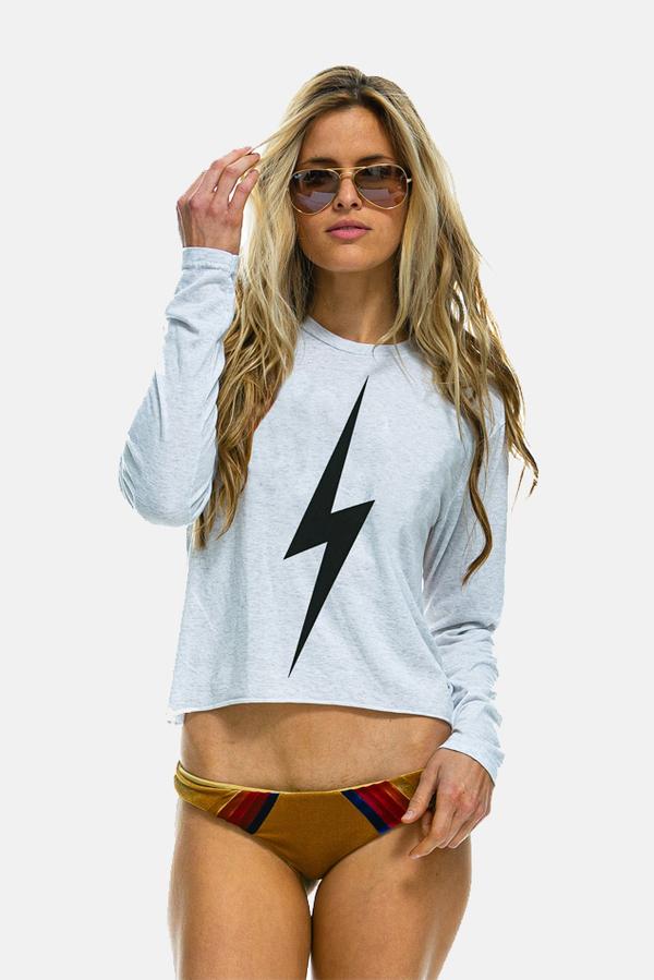 Women's Aviator Nation Bolt LS Boyfriend T-Shirt in White, Size XS