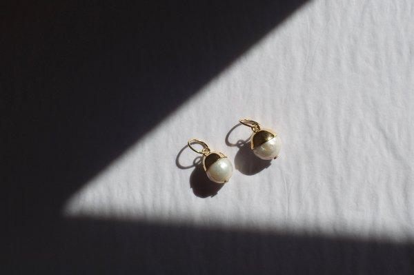 Pearl Drop Hoops, Gold