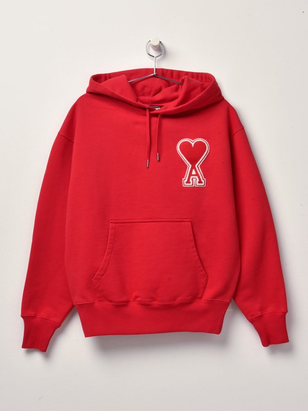 HOODIE WITH OVERSIZE AMI DE CUR_ROUGE/600