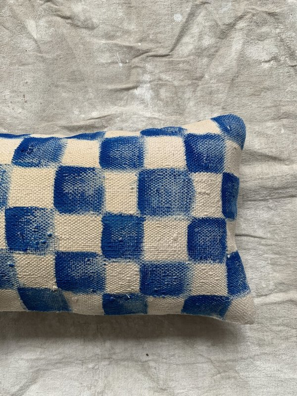 Cuttalossa & Co. Hand Painted Checkered Lumbar Pillow II