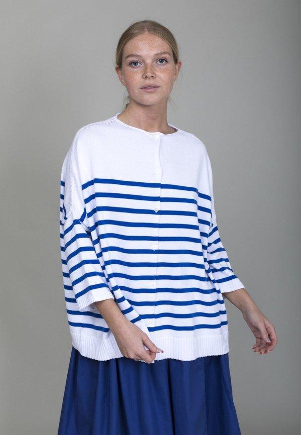 Gallego Desportes Cardigan - Blue Stripe
