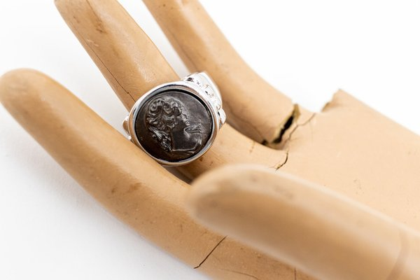 Vintage Black Oxidized Cameo Ring Victorian Style