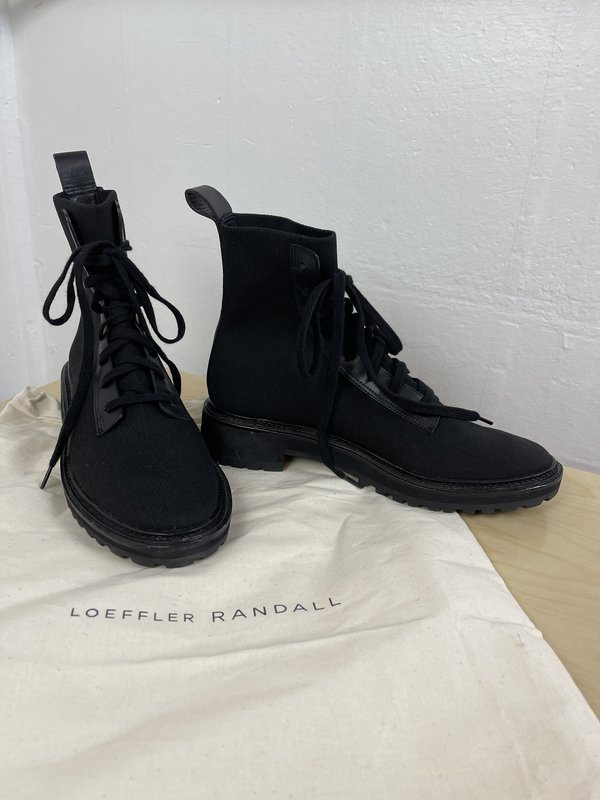 [pre-loved] Catherine Erickson Loeffler Randall Brady Knit Combat Boot - Black