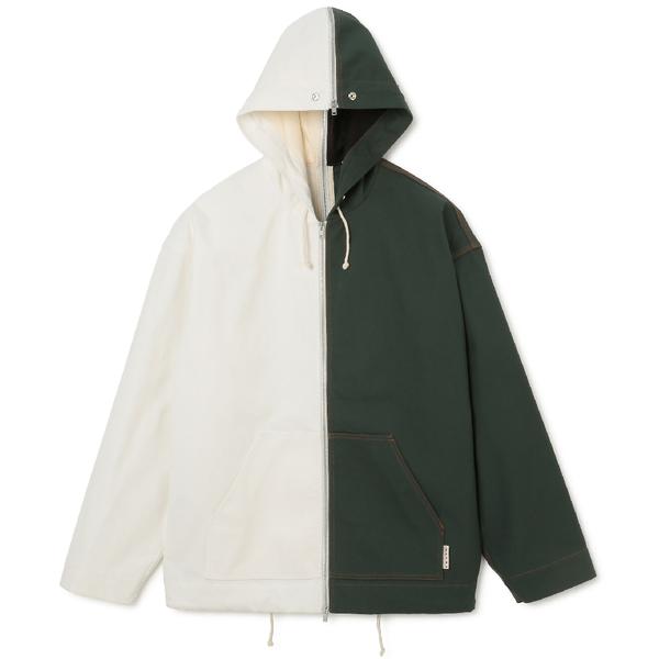 Cotton Canvas Jacket 'Green / White'