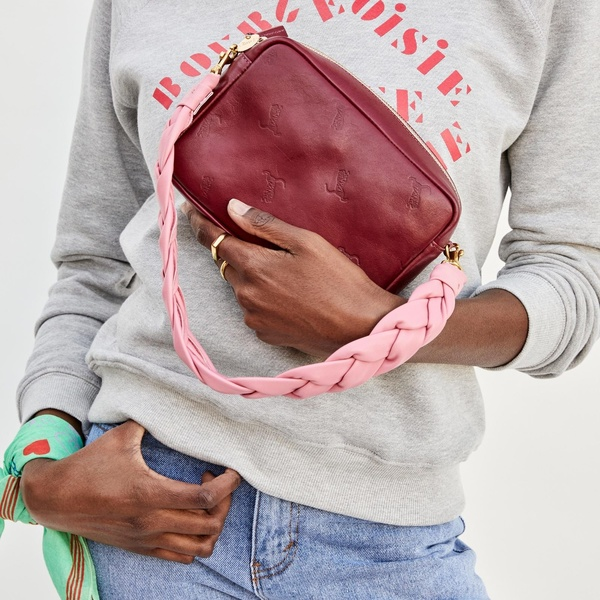 Clare V. Tiger Midi Sac bag - oxblood/pink