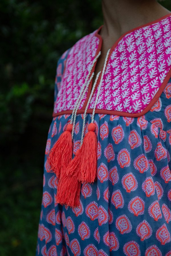 Jodhpur Dress Bagru Stamp Gaze, Blue Neon Papaya