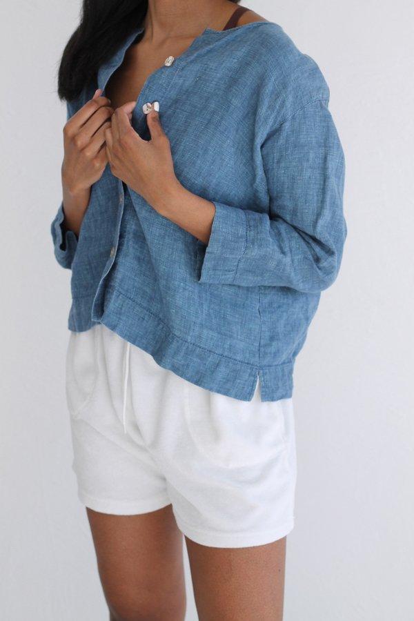 Blue Linen Top | Vintage